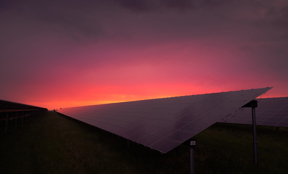 Solar panels seen during sunset.