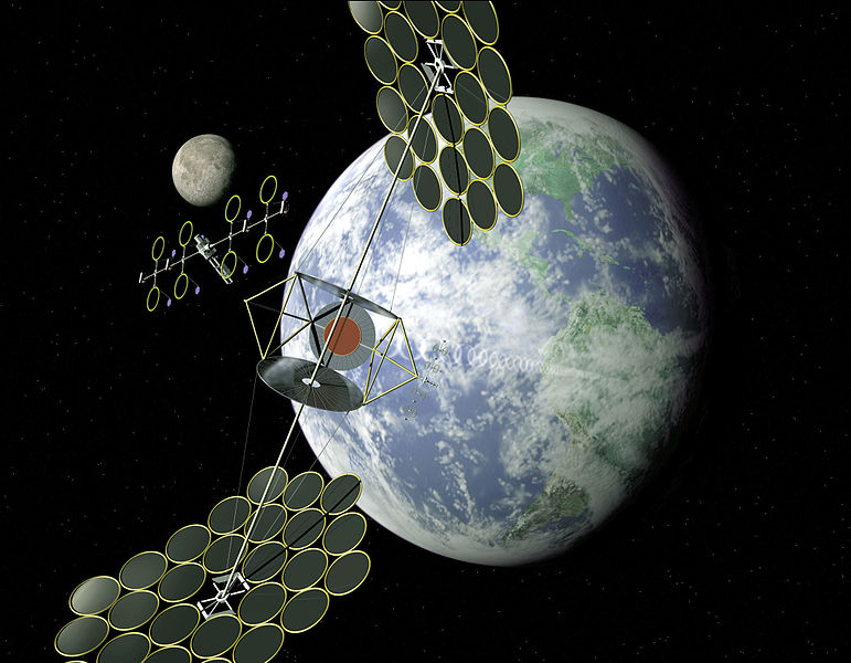 A space solar array could consist of one large structure, or many smaller ones gathered together